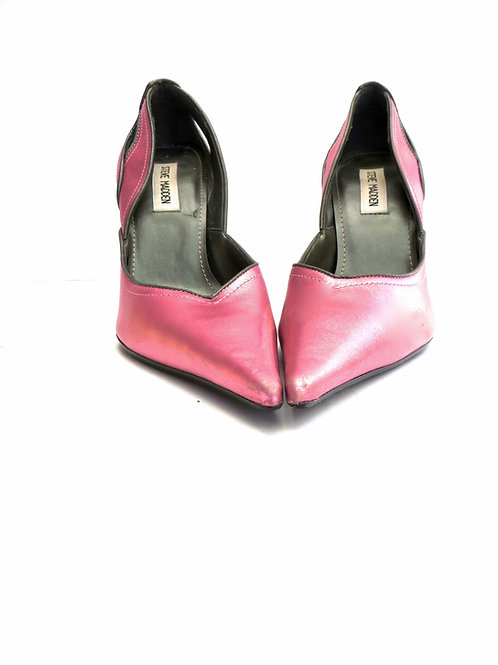 """Metallic Pink Pumps - Steve Madden Pointed Toe Leather High Heel 4"""""""