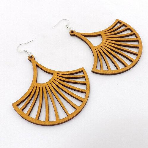 Wooden Sunray Earrings