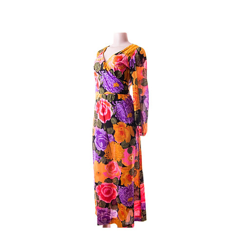 70's Floral Goddess Rose Gown with Long Sleeves- Alice of California maxi Dress