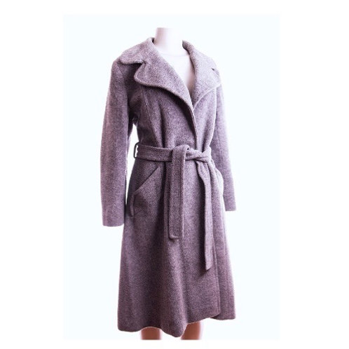 60's Epicurean Grey Wool Designer Boucle Coat