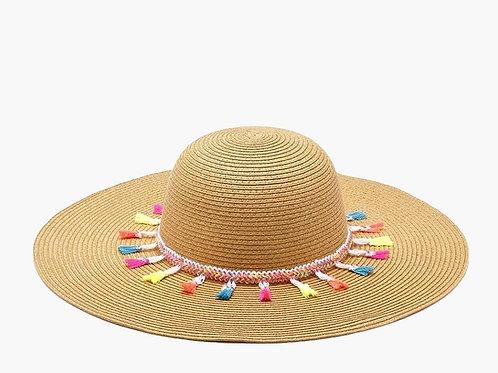 Brilliant Tassel Trim Floppy Summer Sun Hat
