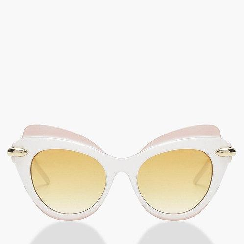 Retro White Cat Eye Winged Sunglasses