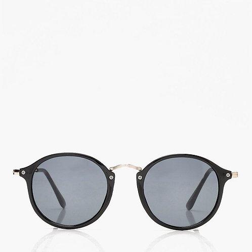 Black & Gold Retro Round Sunglasses -Black Frame Sunnies