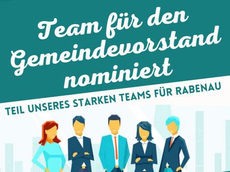 """""""Bürger für Rabenau e.V."""" benennen Vertreter für den Gemeindevorstand"""
