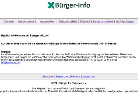 """Info-Portal """"www.buerger-info.de"""" für die Kommunalwahl veröffentlicht"""
