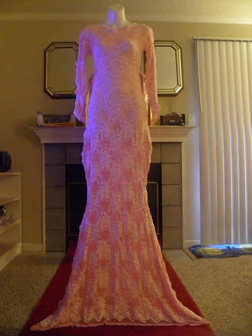 Pink & White Lace Mermaid Dress
