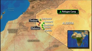 The 5 main Sahrawi refugee camps established in South West Algeria in the mid-1970s.