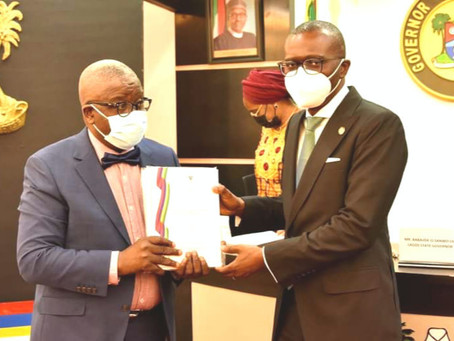 GOV. SANWO-OLU RECEIVES LASU PANEL REPORT ON NEW VC'S APPOINTMENT