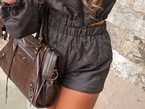 The Brown Quilted Shorts