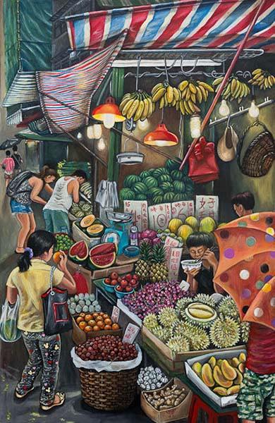 Fruit Stall_122x82cm_Acrylic on canvas_H