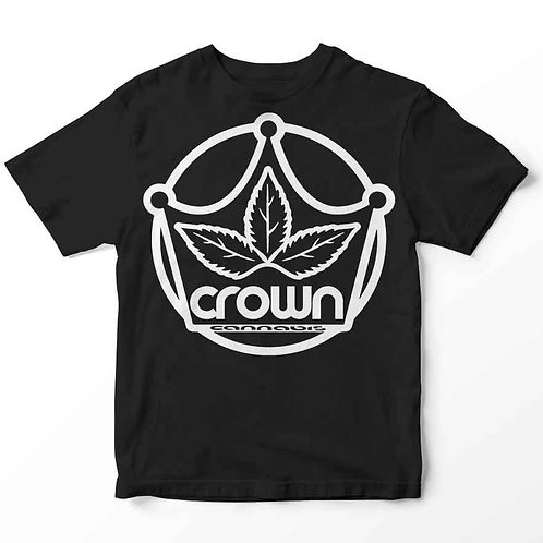 Crown Cannabis™  White Logo - Black - Tshirt