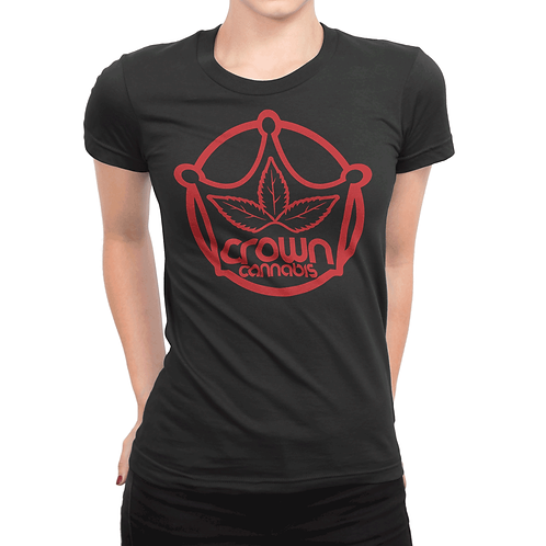 Crown Red Logo Women's Black T-Shirt