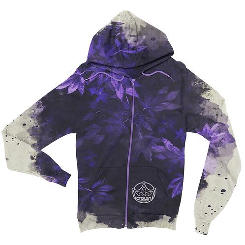 Crown Cannabis Purple Watercolor Leaf Zip Up