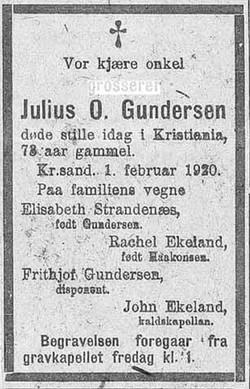 Julius' dødsannonce
