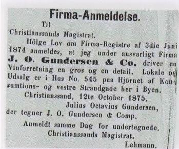 Anmeldelse af Julius' firma, 1875