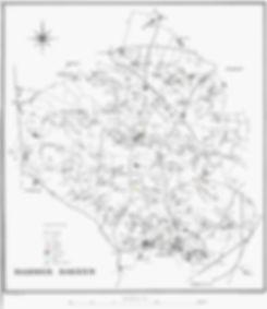 Kort over Hammer Bakker og beliggenheden af Poul og Vild-Stines boliger, Store Jens Peters hus m.m.