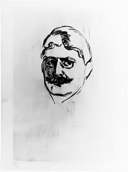 Munchs skitse af Hamsun fra vinkælderen