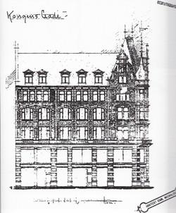 Arkitektens ene tegning til Kongens Gate 7-9
