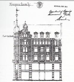 Arkitektens anden tegning til Kongens Gate 7-9