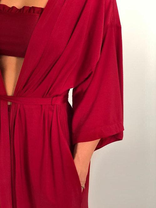 Kimono longo vermelho