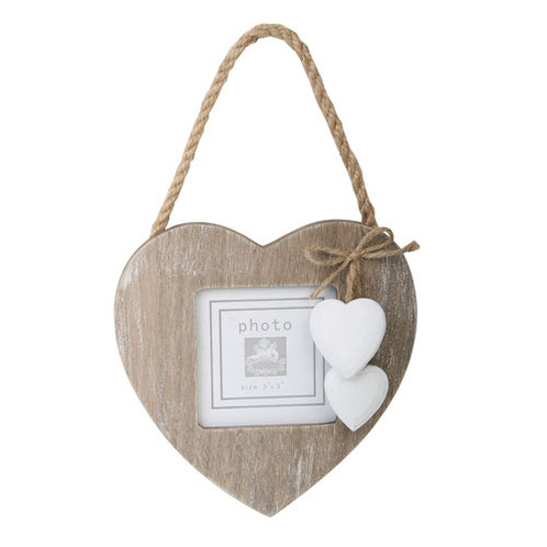 Hanging Rustic Wooden Heart Shaped Photo Frame 3x3\