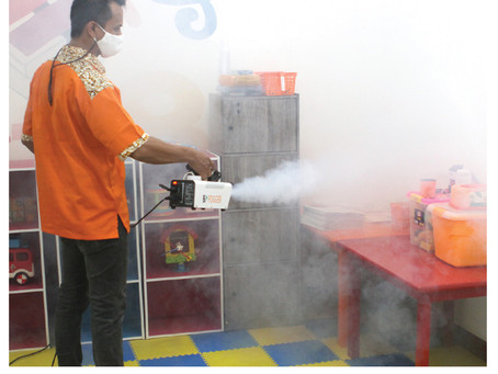 Daily disinfectant fogging is a regular cleaning done by our school.