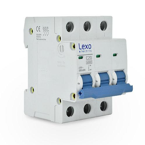 Interruptor automático 6kA, C, 3x20A