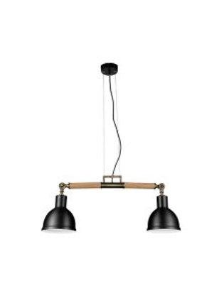 LAMP COLGAR RETRO LINEAL 2L 0.7M E27 ALUMINIO MADERA 14CM (SIN AMPOLLETAS)