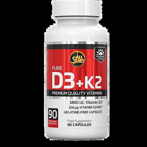 All Stars Vitamin D3 + K2, 90 Kapseln (0,046g)