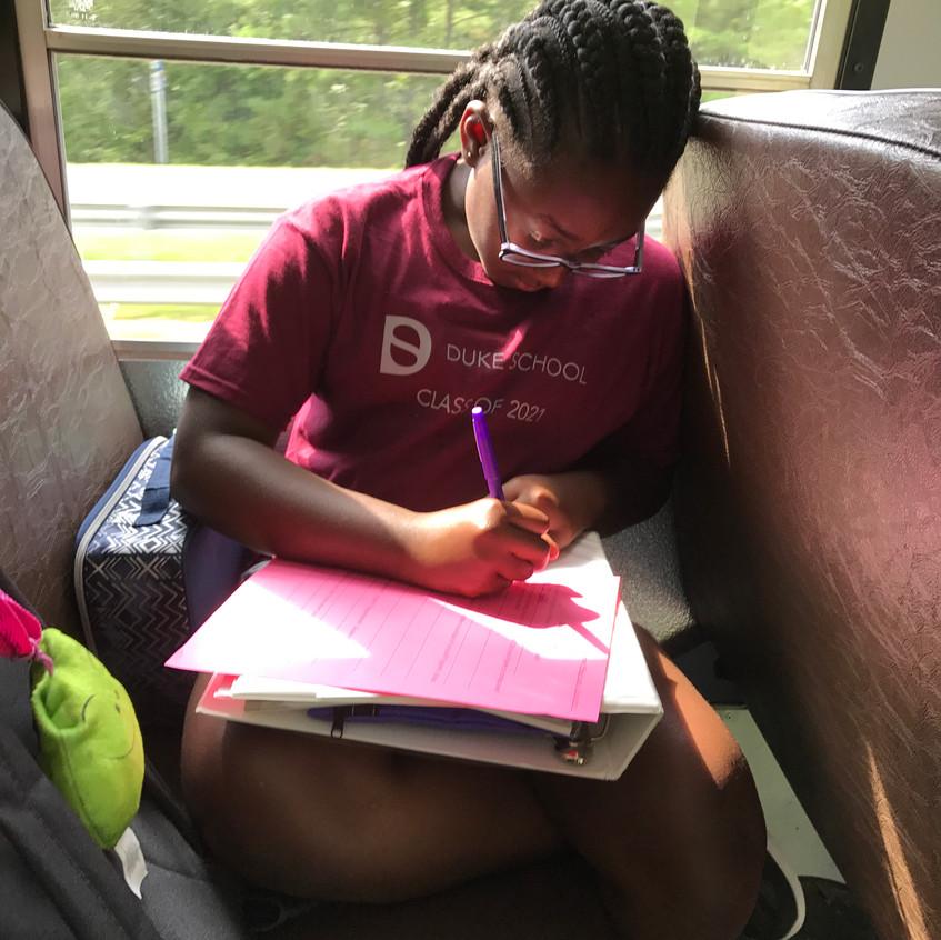 Shariah Studying on Bus