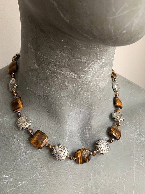 Tigers Eye and silver necklace (with shipping!)