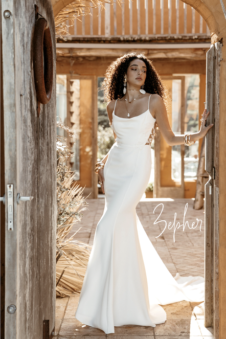 Lovers Society Zepher Gown. Modern Slip and Minimal Wedding Dresses in Devon and Cornwall at Evolved Bridal