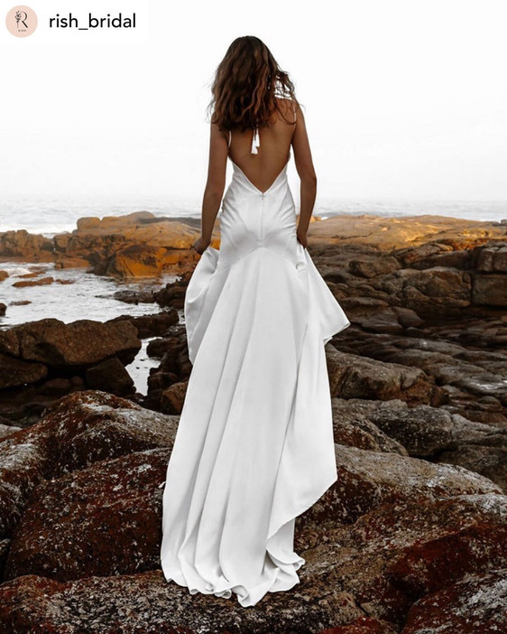 Robin Wedding Dress. Low back, modern slip dresses available at Evolved Bridal. Perfect for civil weddings and the beach.