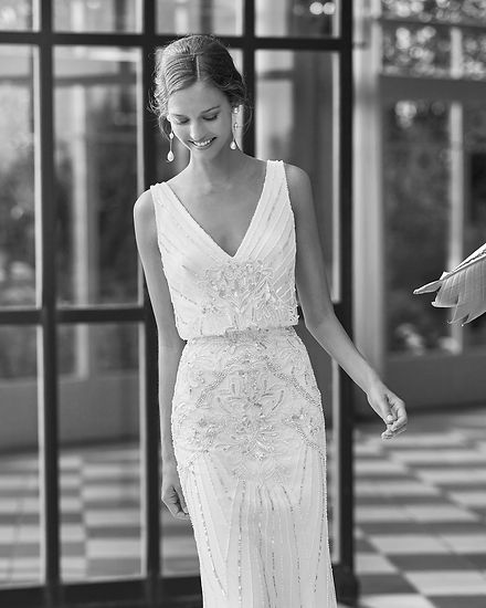 Rosa Clara Ocean Wedding Dress. Perfect for civil or city weddings.Available at Evolved Bridal in North Devon