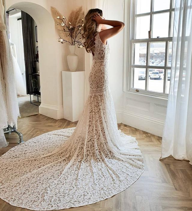 Real Look of Rish Bridal Nina Wedding Dress. Explore our variety of lace and mermaid wedding dresses at Evolved Bridal, Devon, UK