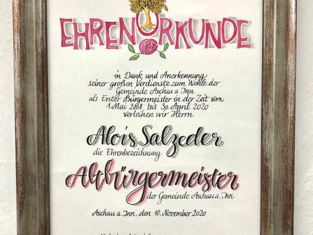 Ehrenurkunde ...                    Gemeinde Aschau am Inn ...