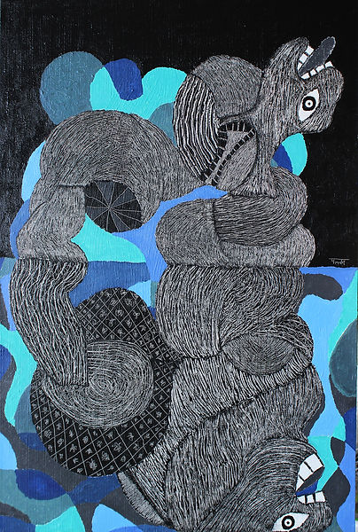 Untitled, 32 X 48 Inches, Acrylic On Boa
