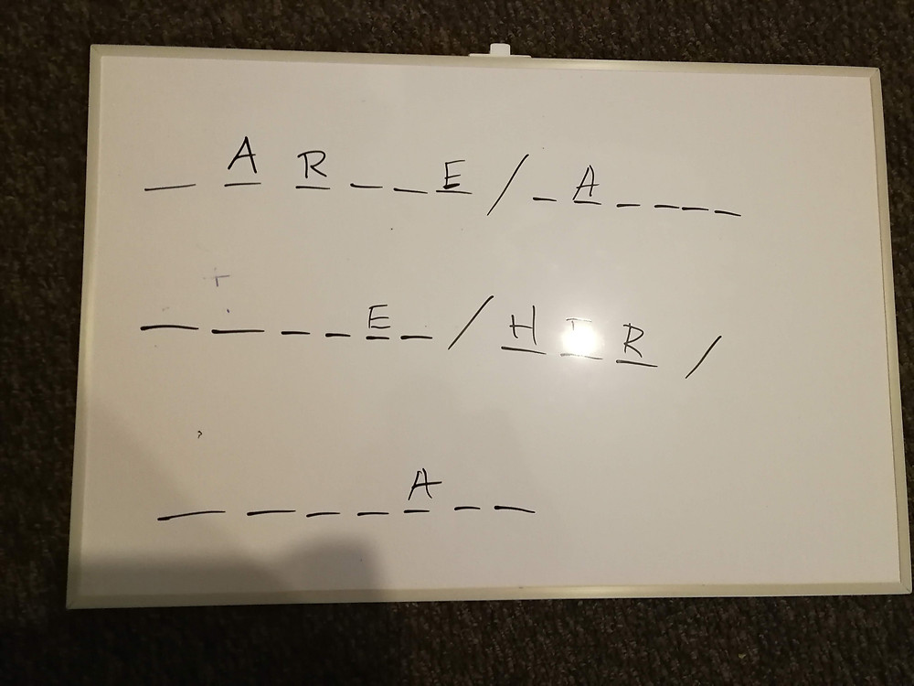The hangman round of a quiz I hosted. Can you get the answer?