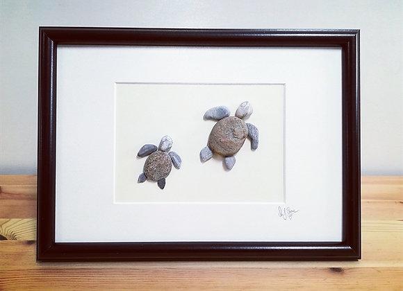 Steinbild, Stoneart, Schildkröten, Kinderzimmerdeko