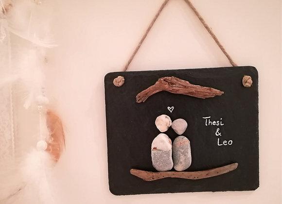 Stein auf Stein - Schiefertafel, Stoneart Türschild für ein Pärchen  mit Schwemmholz