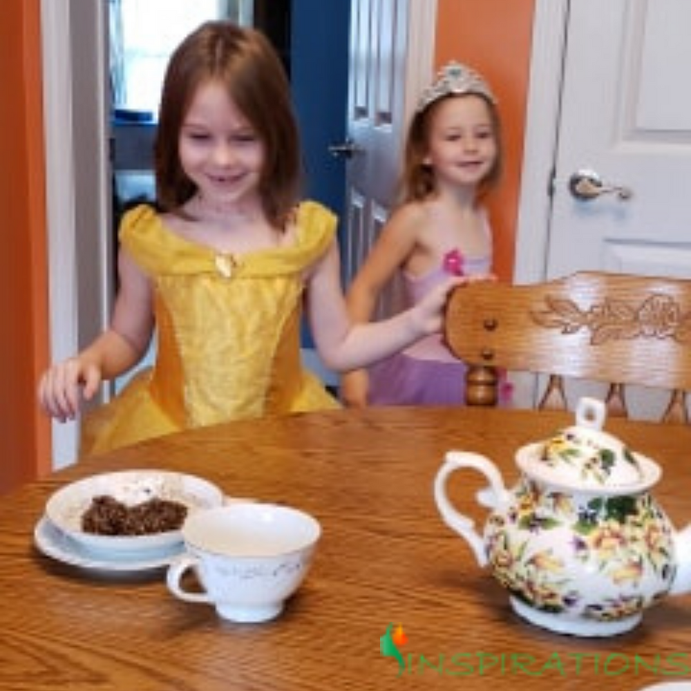 Little girls and princesses, girls playing dress up, girls playing prinesses, tea parties, girls love tea parties, play dress up, play tea parties