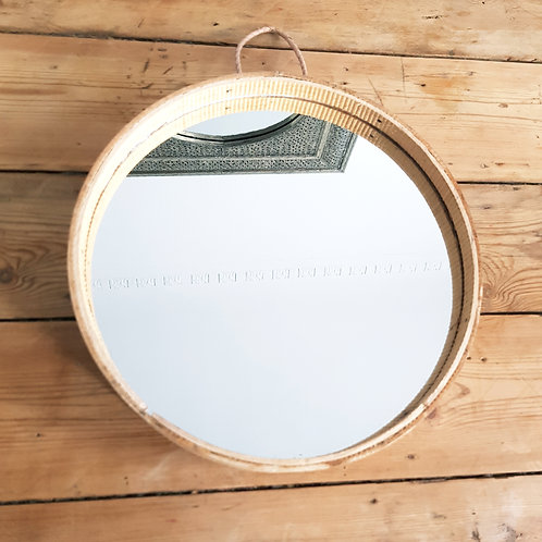 Wood Sieve Round Mirror