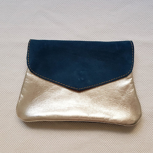 Leather Pouch - Blue Navy, Silver & Grey