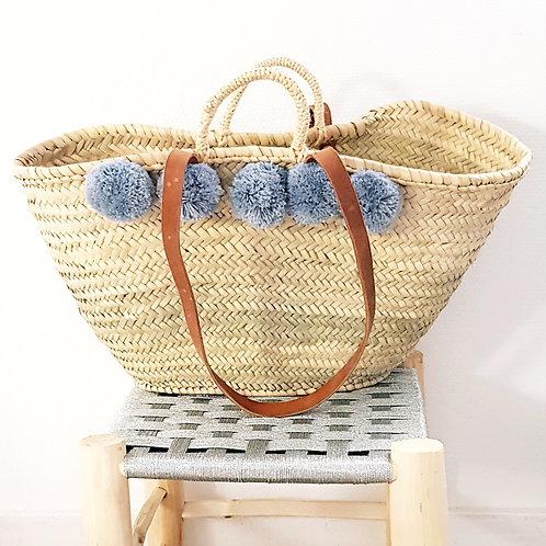 Large Grey Market Pompon Basket