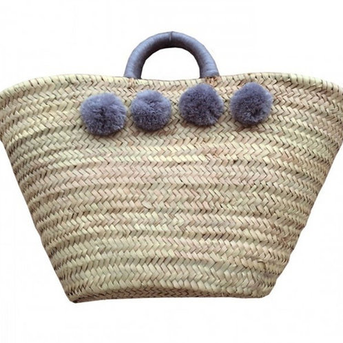 Customizable Market / Beach Basket with 8 PomPoms and wool handle