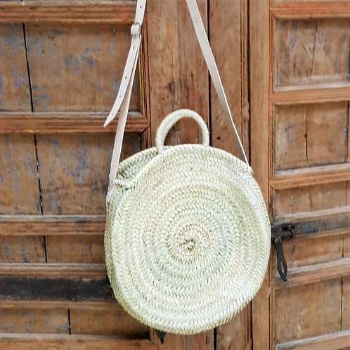 Large Round Straw Bag with Double Handle