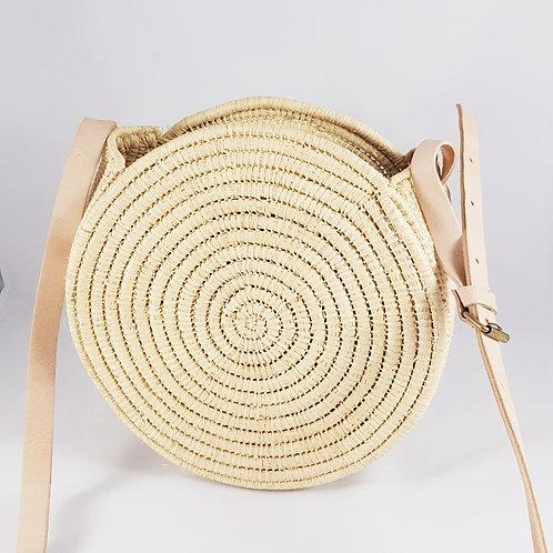 Large Round Chelo Straw Handbag