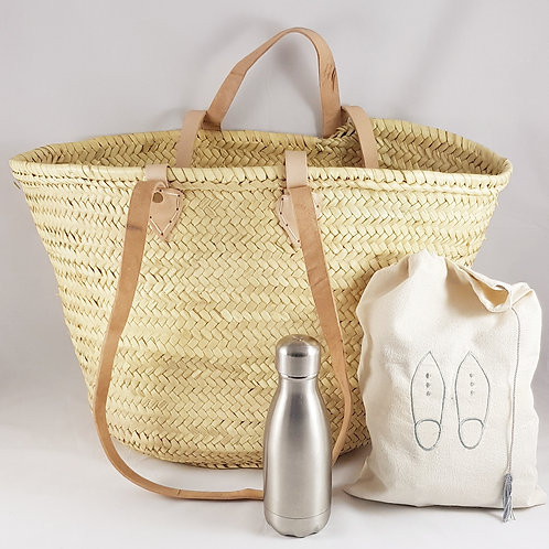 Large Straw Market Basket with Double Handle