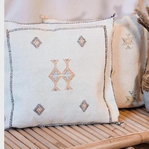White Cactus Silk Cushion Cover