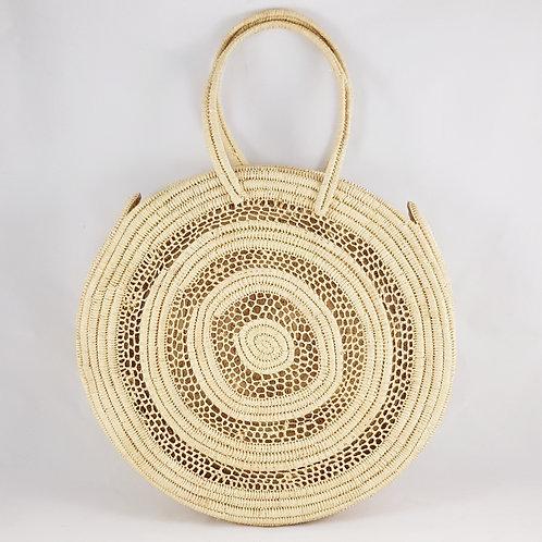 Large Shoulder Round Raphia & Macramé Bag